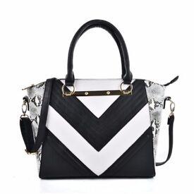 Brand New Snakeskin Pattern Stripe patchwork Handbag
