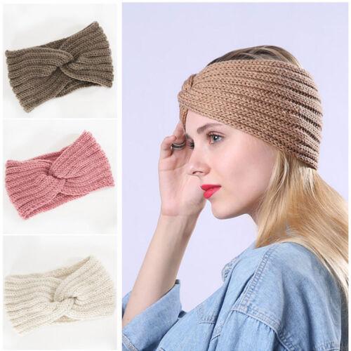 Women Crochet Headband Knit Cross Knot Hairband Ear Warmer W