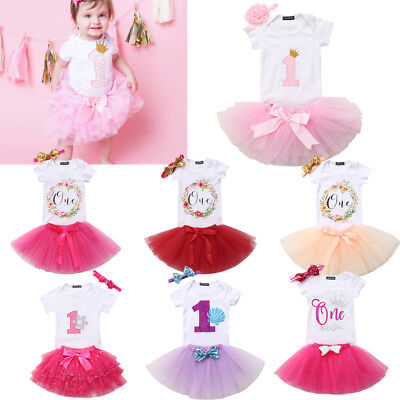 US Baby Girls 1st First Birthday Dress Tutu Skirt Headband Party Romper Outfits - Girl First Birthday Party