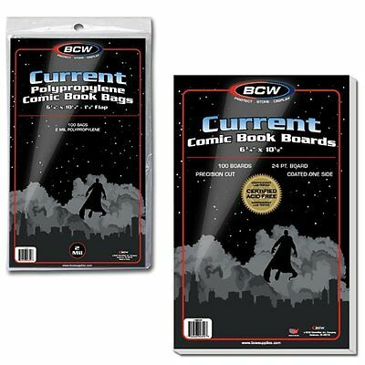 100 BCW Current Modern Comic Bags/Sleeves and Boards