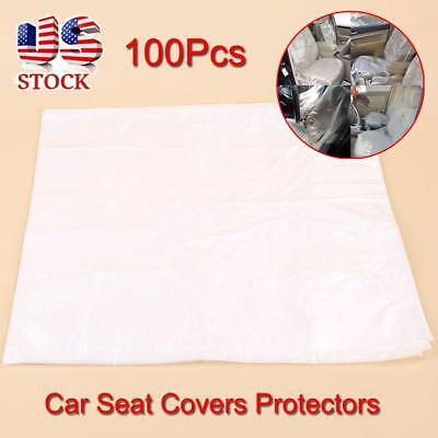 100Pcs Disposable Clear Plastic Car Auto Seat Covers Protector Mechanic Valet