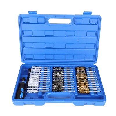 "38Pc Wire Brush Set 1/4"" Shank Extension Rod Stainless Steel Brass Nylon Brush"