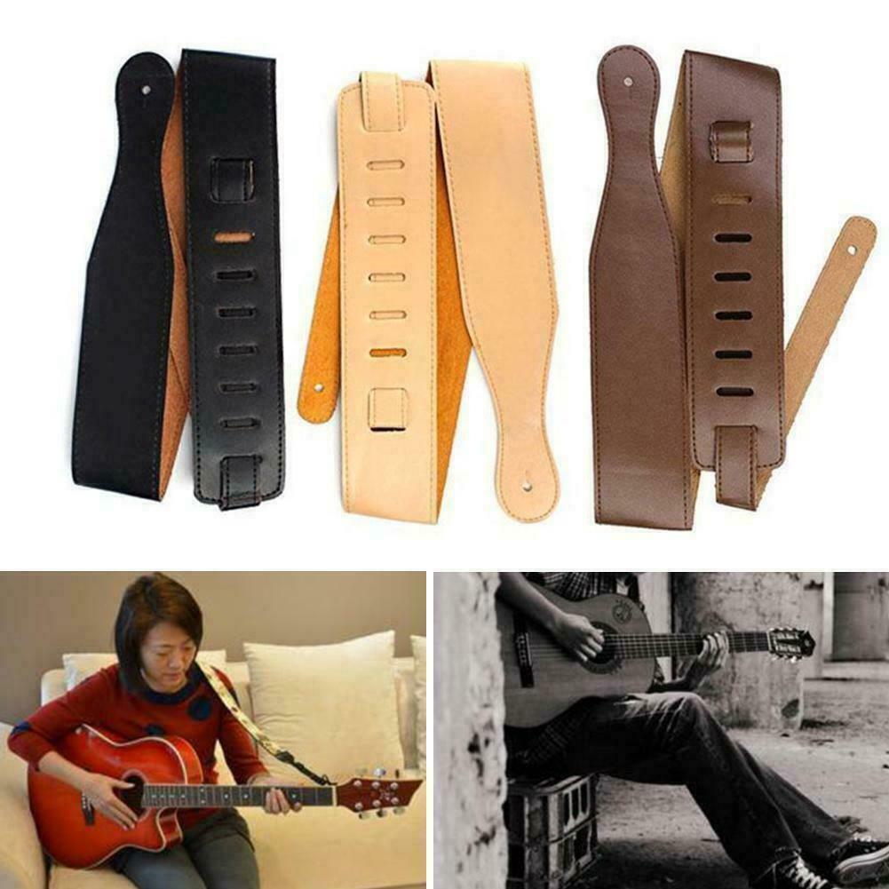 Einstellbarer Polyester-Gitarrengurt mit PU-Lederenden S0O2 für E-Bass Usef X4U1