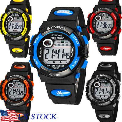 Kids Watch Sport Waterproof Wristwatch LED Alarm Digital Stopwatch Best