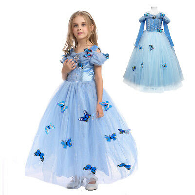Cinderella Costume For Teens (Cinderella Sandy Princess Butterfly Dress Costume For Kids Girls Christmas)