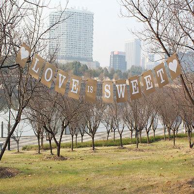 Kraft Paper Love Is Sweet Rustic Vintage Wedding Banner Bunting Table Decor - Love Table