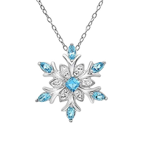 Women Blue Crystal Necklace Snow Flake Flower Necklaces Pend