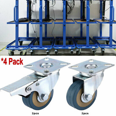 4pcs Swivel Caster Wheels 2 Inch Rubber Base With Top Plate Bearing Heavy Duty