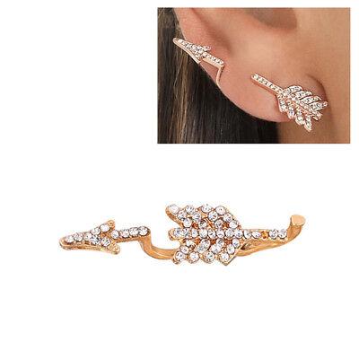 Cool Punk Rhinestone Arrow Ear Jacket Stud Crawler Climber Earring Jewelry Innov Earring Jackets Ear Jewelry