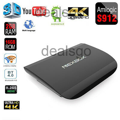 NEXBOX A1 Android6.0 TV BOX Amlogic S912 64Bit Octa-Core 2GB/16GB 4K DUAL WIFI