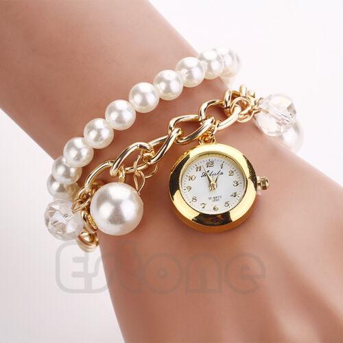 Fashion Women Faux Pearl Rhinestone Chain Bracelet Round Dial Analog Wrist Watch
