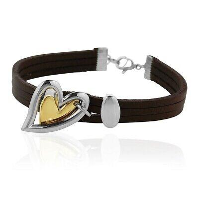 Triple Cord Brown Leather Mixed Metal Double Heart Charm Bracelet, Women & Girls