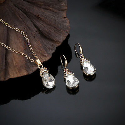 Women's Teardrop Clear CZ Drop/Dangle Earrings White Gold Filled Wedding Jewelry