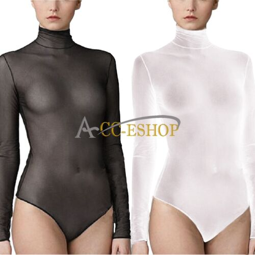 Sexy Women Ladies Mesh Sheer Unlined Mock Neck Long Sleeves Bodysuit  Bandage TopUSD 5.35 d2c5536e6
