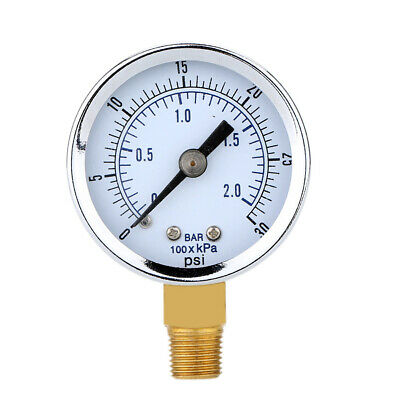 0-30psi 0-2bar Air Pressure Hydraulic Gauge 14inch Npt Side Mount Manometer New