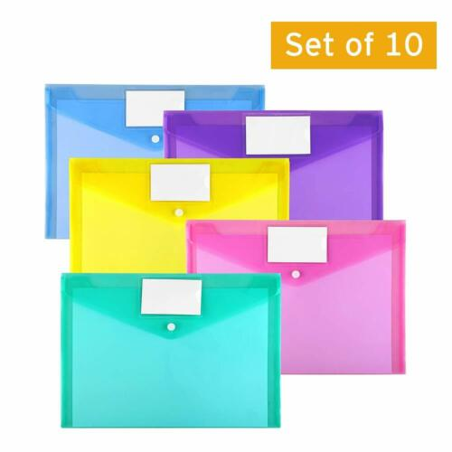 Plastic Envelopes Poly Envelopes, Sooez 10 Pack Clear Document Folders US