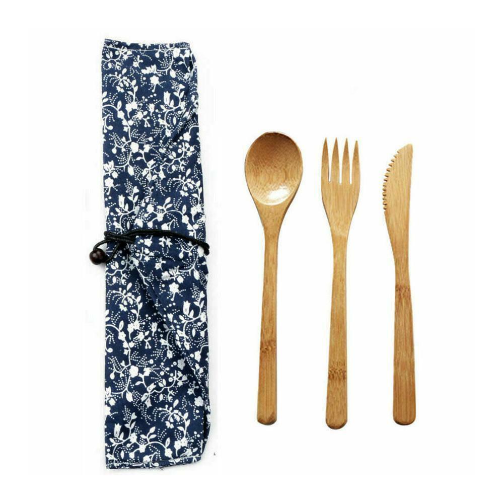 Bamboo Cutlery Set Eco-friendly Flatware Fork Spoon Travel F