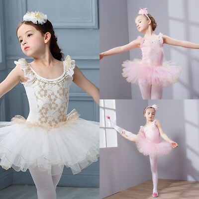 Kids Girls Swan Lake Ballet Tutu Dress Ruffles Gymnastics Leotard Dance Costume