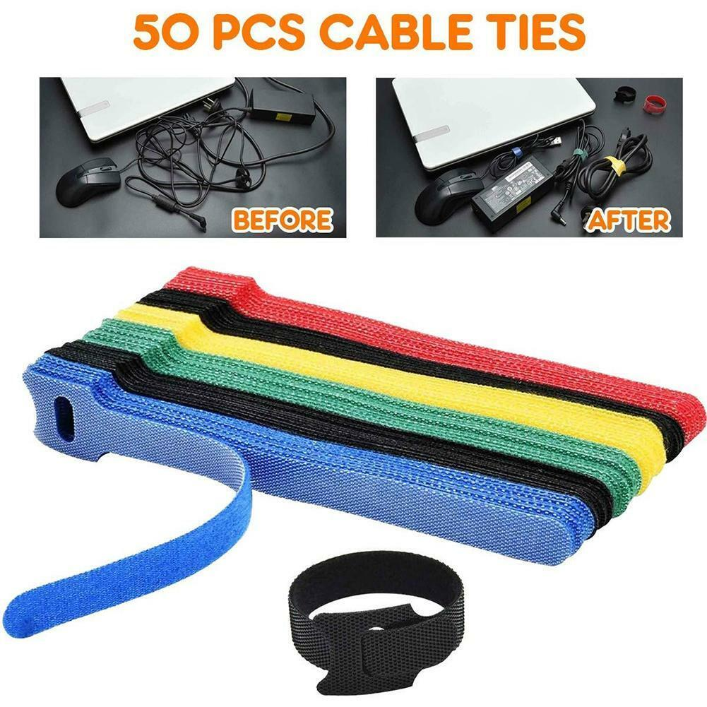 50pcs Tape Straps Cable Ties Reusable Fastening Wire Organiser Cord Lead Straps