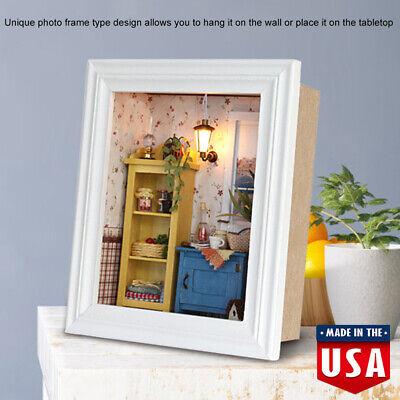 Wood Dollhouse Photo Frame Assemble Kit Miniature Doll House Witn Furniture DIY for sale  USA