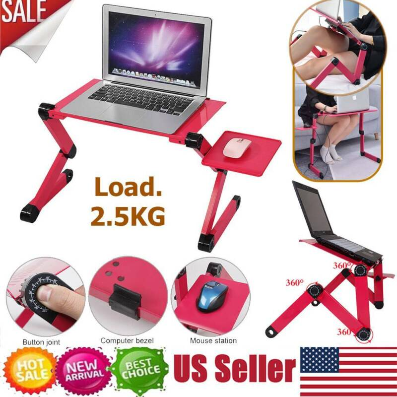 360° Adjustable Desk Folding Laptop Computer Notebook Table Stand Bed Tray US