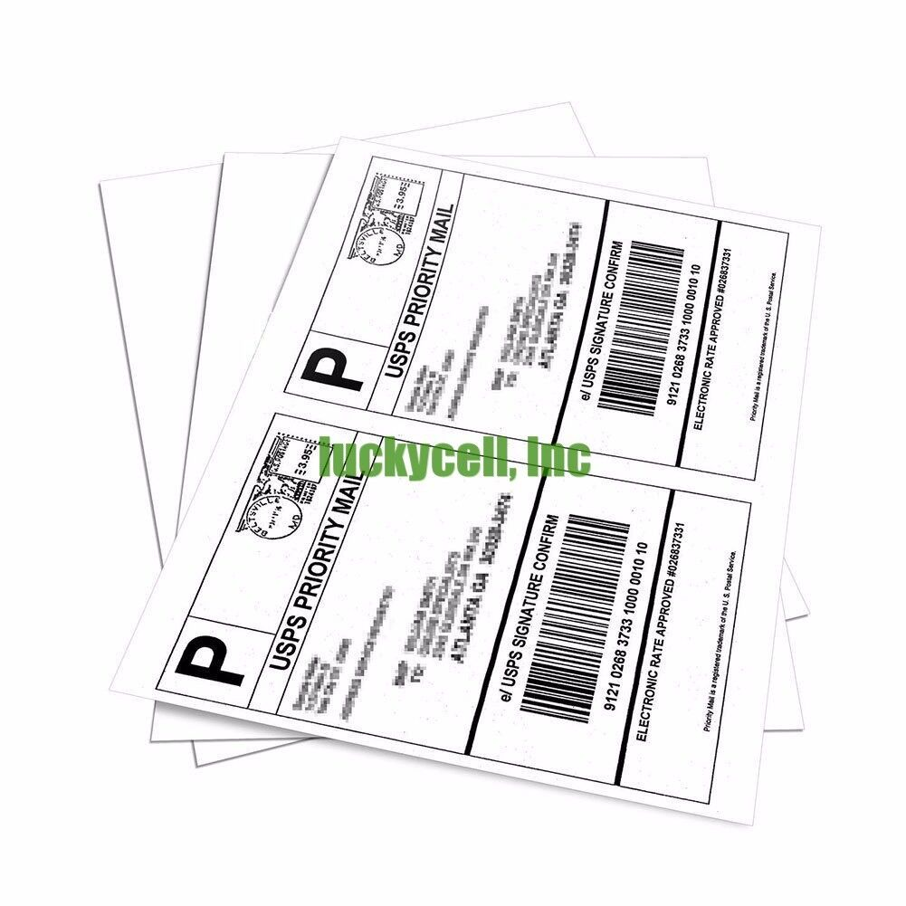 1000 USA Premium Self Adhesive Paypal eBay Wood Free Ship Labels 8.5x5.5