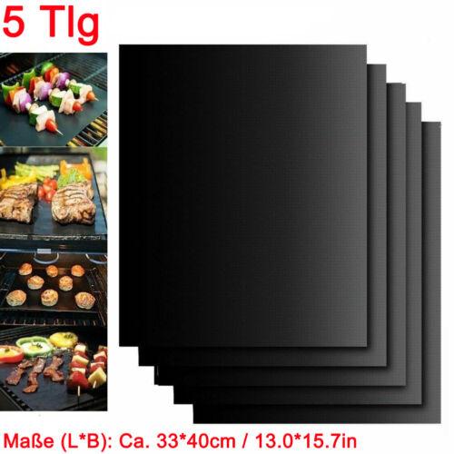 5X BBQ Grillmatte Glasfaser Kochen Dauer Grillunterlage Backofenfolie Grillfolie