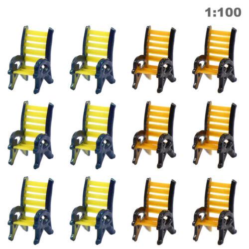 TYS18100 12pcs Model Train Railway Platform Leisure Chair Bench Settee 1:100 TT