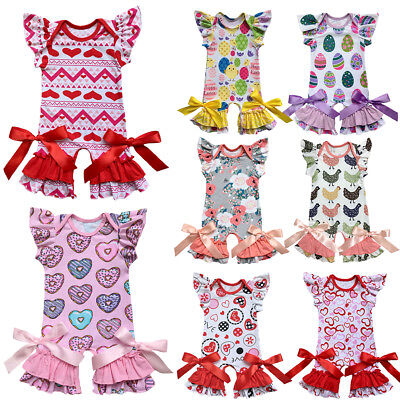 Baby Girls Bow Ruffle Romper Jumpsuit Kids Pajamas Clothes for Toddler Infant - Holiday Clothing For Toddlers