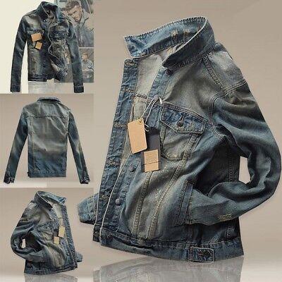 (Men Boy Jean Denim Jacket Outerwear Fall Slim Fit Classic Retro Thicken Coat Hot)