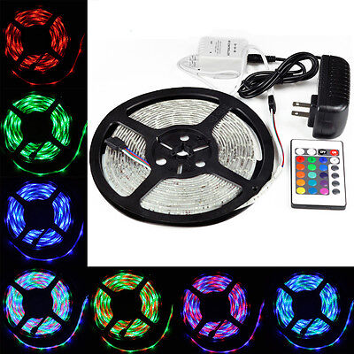 5M 3528 RGB Waterproof 300 LED Light Strip+24IR remote controller + Power Supply on Rummage