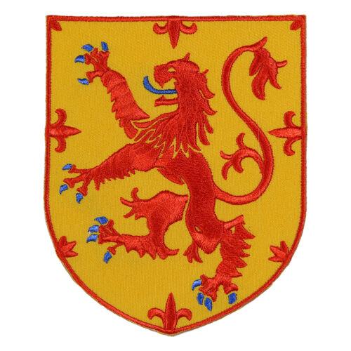 SCOTLAND LION RAMPANT SHIELD SCOTTISH CREST HERITAGE EMBROIDERED IRON-ON PATCH