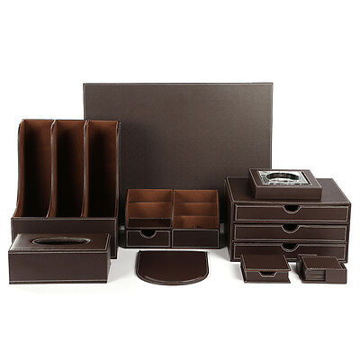 Wholesale 9pcsset Leather Wooden Office Desk Organizer Files Drawer Storage Box