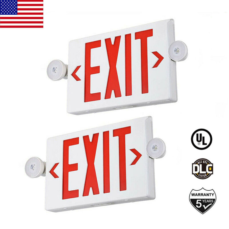 2Pack LED Exit Sign Emergency Light Red Fire–Hi Output Compact Combo UL listed