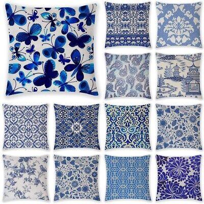 Blue Flower Pillow Case Cover Sofa Car Throw Waist Cushion Cover Home Decor 18