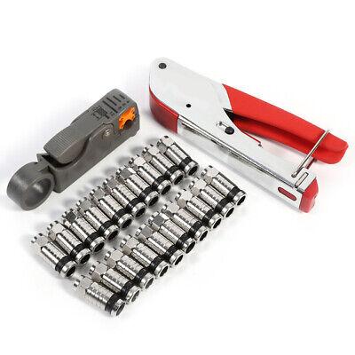 20 pcs/set Coax Cable Crimper Coaxial Compression Tool Kit for RG59 RG6 F Conne