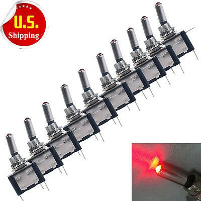 10x Red Led Light Toggle Switch Rocker 12v On Off For Car Truck Airplane Us Hot