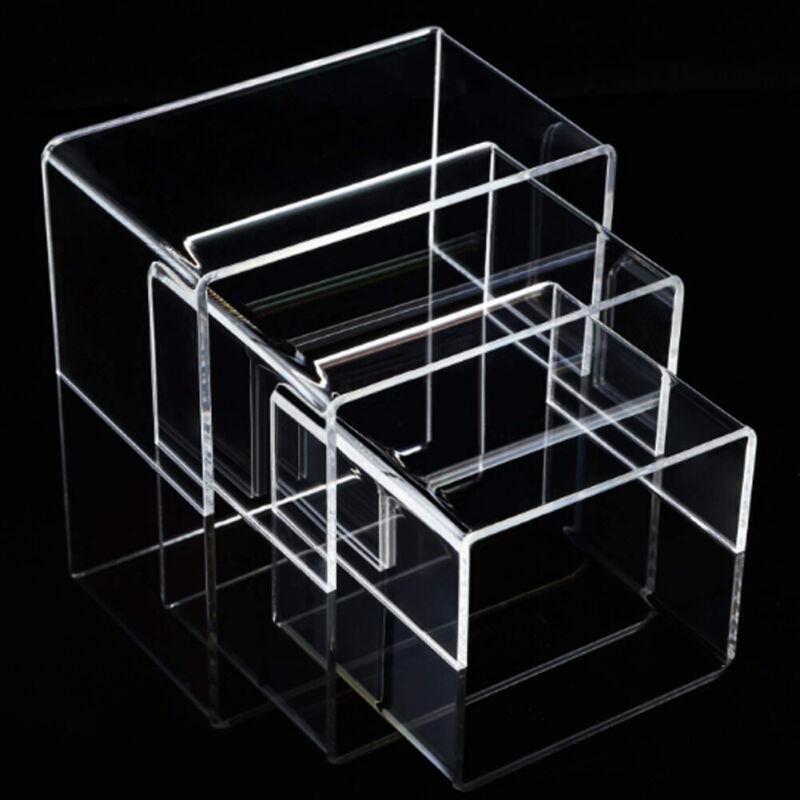 6PCS Clear Acrylic Display Risers Jewelry Display Riser Shelf Showcase Fixture