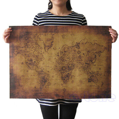 (Large Vintage Style Retro Paper Poster Globe Old World Map Gifts 71x51cm)