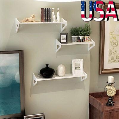 3Pcs Wall Mount Shelf Display Floating Nesting Decorative Storage Shelves White ()