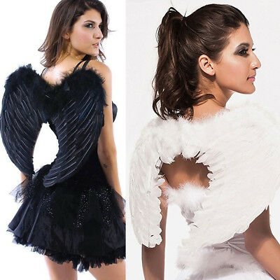 Adult Kids Black White Feather Angel Wings Adult Fairy Angel Wings Fancy - Kids Angel Wings