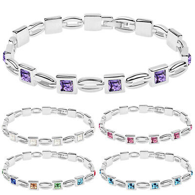 Charm Women Jewelry Bling Princess Cut Rhinestone Inlaid Bracelet Bangle Gift Co