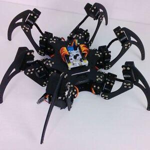 Spider robot ebay 1set black six legs alloy 3dof hexapod spider robot frame kit diy for arduino solutioingenieria Image collections
