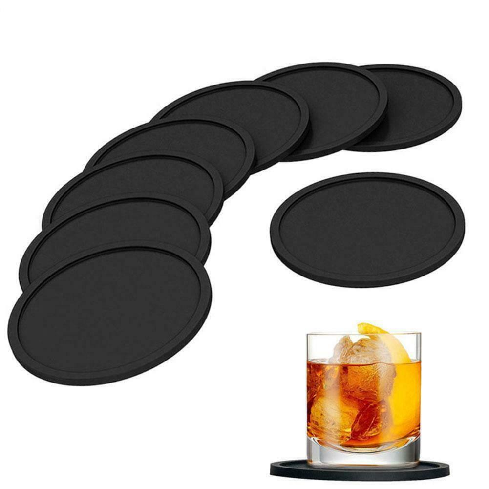 Black Silicone Drink Coaster Placemats Table Mats For Dinner