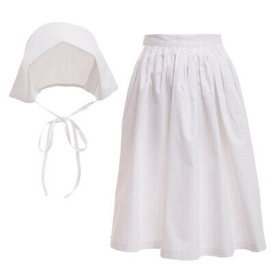 Girls Apron And Bonnet Pilgrim Pioneer Colonial Costume Accessories White Cotton - Pilgrim Costume Accessories