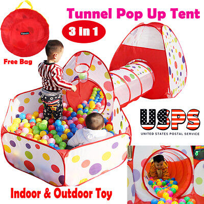 Portable Kids Indoor Outdoor Play Tent Crawl Tunnel Set 3 in 1 Ball Pit Tent US - Kids Tunnels