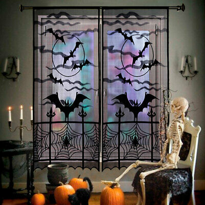 Halloween Bat Spiderweb Lace curtain Window Panel Party Background Wall Decor](Halloween Bat Wall)