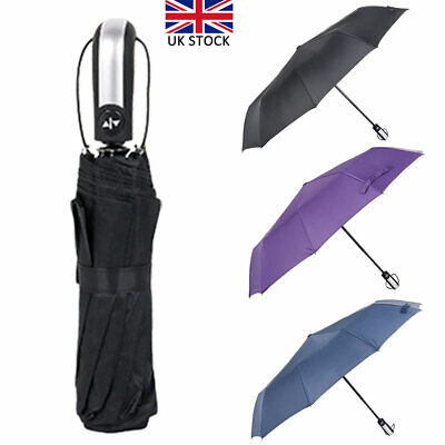 Windproof Travel 10 Ribs Strong Automatic Open Close Umbrella Folding Compact UK
