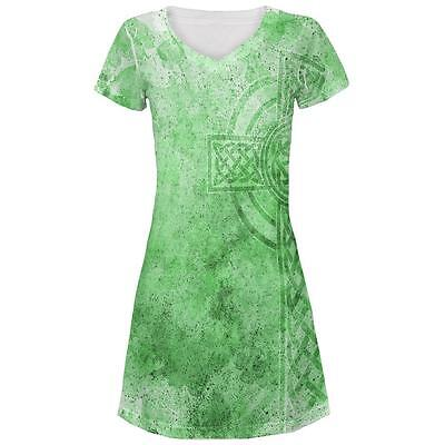 St. Patricks Day Dirty Irish Celtic Cross All Over Juniors Beach Cover-Up Dress