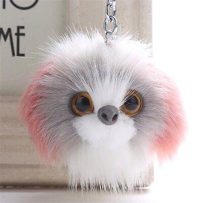 Cute Dog Fluffy Faux Fur Pom Pom Ball Handbag Phone Pendant Car Keychain Keyring (Pom Pom Dogs)